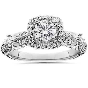 1 1 / 2ct Diamant Kissen Halo WeinleseVerlobungsring 14K White Gold