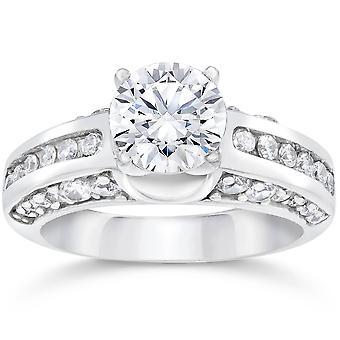 2 1/2T Zaoblaená rozšířená Záhra diamantový kruh zvýraznění bílé zlato