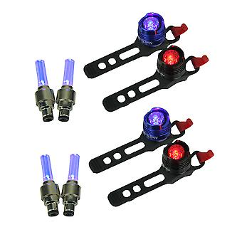 Red and Blue LED Bicycle Lights Plus Blue Valve Wheel Lights Set of 2