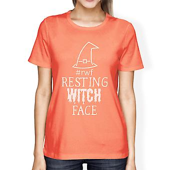 Resting Witch Face Halloween Costume Shirt For Women Peach Cotton