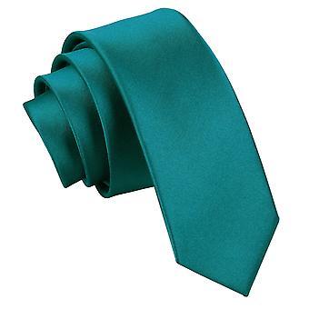 Teal oformaterad Satin smal slips