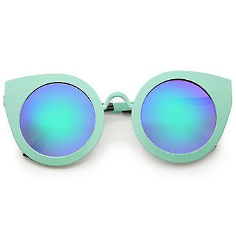 Ossature métallique Oversize couleur lentille miroir femmes rond lunettes Eye Cat 47mm
