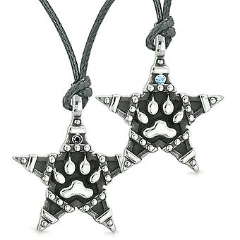 Wolf Pfote Superstar Pentagramm macht Liebe Paare Beste Freunde blau schwarze Kristalle Halsketten