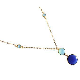 GEMSHINE Halskette mit Saphir und Chalcedon. Anhänger 925 Silber, gelb oder rose