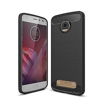 Motorola Moto Z2 Pelaa TPU asia hiilikuitu optiikka harjattu suojakotelo musta