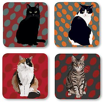 Leslie Gerry Cat Coasters, Set of 4