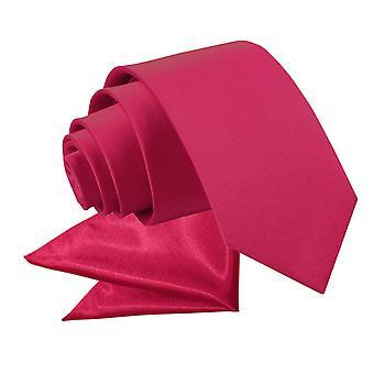 Crimson Red pianura cravatta in raso & fazzoletto da taschino impostati per i ragazzi