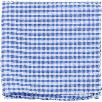 Knightsbridge Neckwear ситцевом проверил хлопок карман площадь - синий/белый