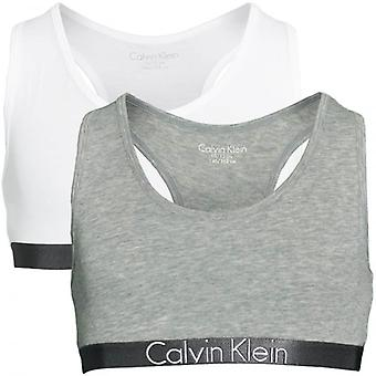 Calvin Klein Girls 2 Pack Customized Stretch Bralette, Heather Grey / White, X-Large