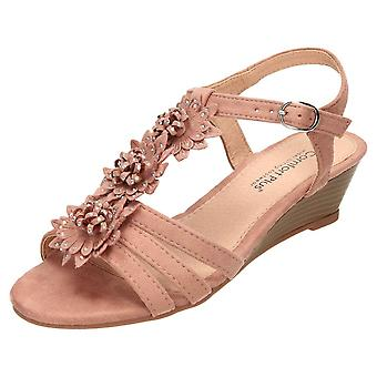 Comfort Plus Pink Wide Fit Slingback Wedge Open Toe Strappy Sandals