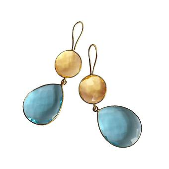 Gemshine earrings citrine and blue topas drops in 925 silver or gold plated