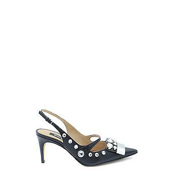Sergio Rossi Ezbc040009 Women's Black Leather Sandals