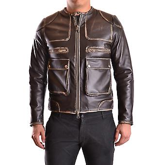 Daniele Alessandrini Ezbc107119 Men's Brown Leather Outerwear Jacket