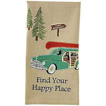 Find Your Happy Place Camp Bearfoot Embroidered Kitchen Dish Towel 28 Inches