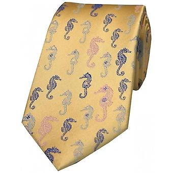Posh and Dandy Sea Horses Silk Tie - Light Blue/Yellow