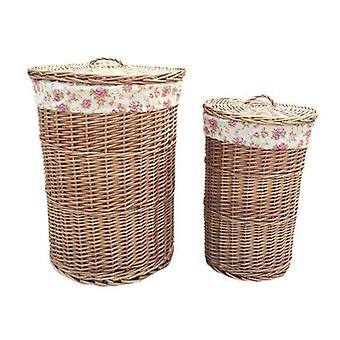 Small Light Steamed Round Laundry Baskets with Garden Rose Lining