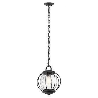 Elstead-1 lett liten kjede lanterne-teksturert svart finish-KL/VANDALIA8/M