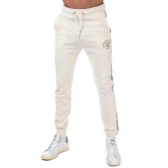 Mens Crosshatch Creymere Jog Pants In Sand- Ribbed Waist And Cuffs- External