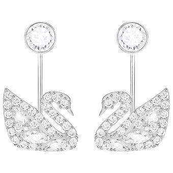Swarovski Zwanenmeer doorboord Earring jassen - White - Rhodium Plating