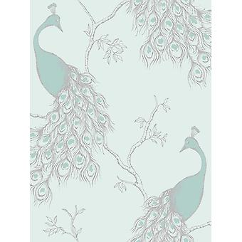 Imperatriz pavão wallpaper Duck Egg e Teal Fine decor FD40713