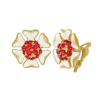 Eternal Collection Delicious White Enamel And Red Crystal Stud Clip On Earrings