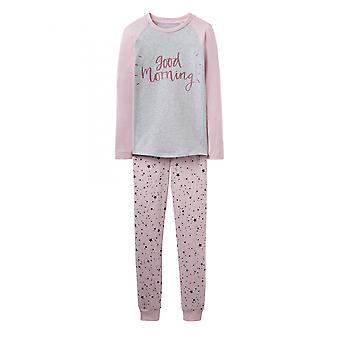 Joules Junior Sleepwell Jersey Mädchen Pyjama Set - Rose Pink Star