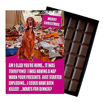 Irlandzki Red Setter śmieszne Boże Narodzenie prezent dla psa kochanka czekolada powitanie karta Xmas Present