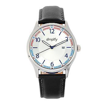 Zjednodušte 6900 kožená hodinová hlídka w/datum-bílá