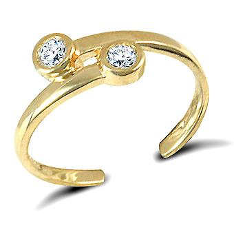 Jewelco London Ladies Solid 9ct Yellow Gold White Round Brilliant Cubic Zirconia Cross over Torque Toe Ring