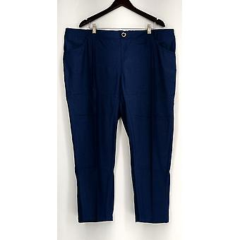 IMAN Petite Pants Button Closure Faux Fly Denim Look Chambray Blue