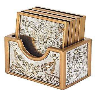 Manta gold 7 pc coaster set badash crystal rcs6-mg