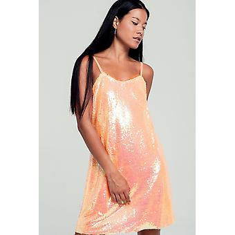 Sequin Cami Mini klänning i orange