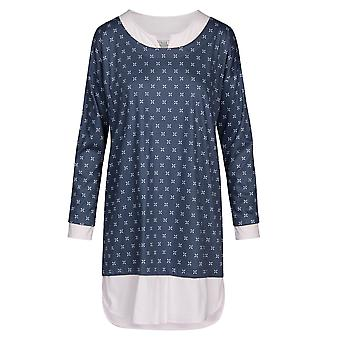 Feraud 3191018-14706 Donne's Alta Classe Blu Minimal Print Cotton Sleep Camicia Notte Nightshirt