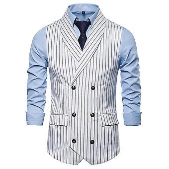 Allthemen Men's Stripe Shawl Collar Autumn Business Casual Suit Vest 3 Colors