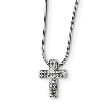 925 plata esterlina pave rodiado langosta garra cierre y circonía cúbica pulido cruz collar - 18 pulgadas