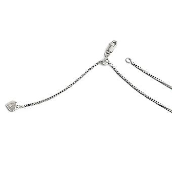 1.1mm 925 Sterling Silver Polished Lobster Claw Closure Adjustable Box Chain Necklace - Length: 22 to 30