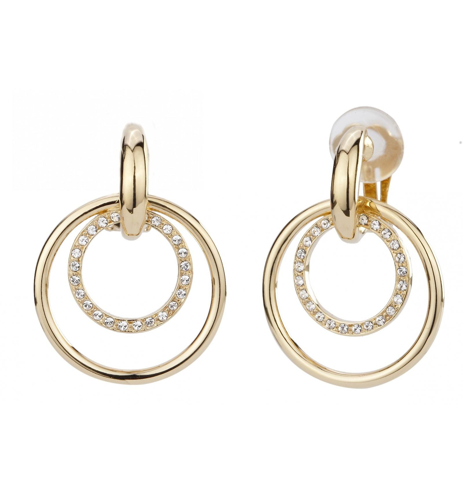 Traveller clip earring - Hanging - 22ct gold plated - Swarovski Crystals - 157105