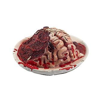 Lattice Gourmet scabrosi marciume cervello piastra Prop, rosso, con larve & scarafaggi, 27x27x10cm / 11x11x4in Fancy Dress Accessory