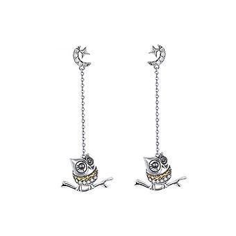 Owl dinglande kvinnors Örhängen prydd med Swarovski Crystal och silver 925