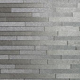 Arthouse Foil Brick Effect Wallpaper Slate Stone Metallic Silver Luxury Vinyl
