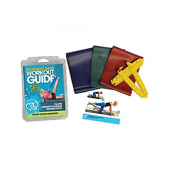 Fitness Mad Resistance Studio Strength Training Exercise Band Clips & Guide Kit