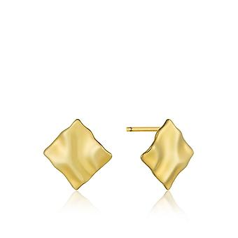 Ania Haie Silver Shiny Gold Plated Crush Mini Square Stud Earrings E017-05G