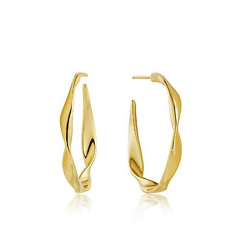 Ania Haie Sterling Silver Shiny Gold Plated Twist Hoop Earrings E012-04G
