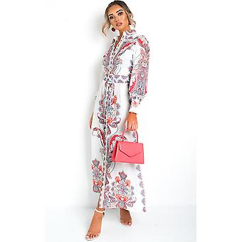 IKRUSH Womens Elma Button Up Printed Maxi Dress