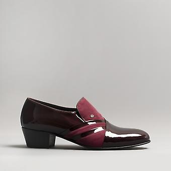 Club Cubano Pablo Mens Patent Leather Cuban Heel Shoes Burdeos