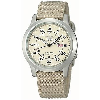Seiko 5 Automatic Beige NATO Military Style Strap Men-apos;s Watch SNK803K2