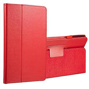 لسامسونج غالاكسي تبويب A 8.0 SM-T380، T385 القضية، ليتشي الغطاء الجلدي، الأحمر