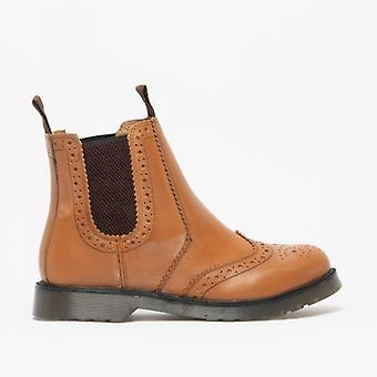 Grafters Dudley Mens Couro Brogue Air Cushion Sole Dealer Boots Tan
