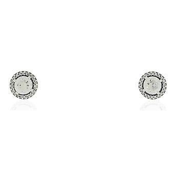 Pandora Sterling Silver Round Clear CZ Earrings - 296272CZ