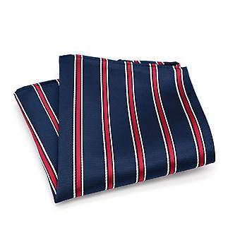 Burgundy white & navy blue stripe pocket square hanky